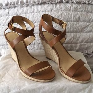Cognac Strappy Wedges